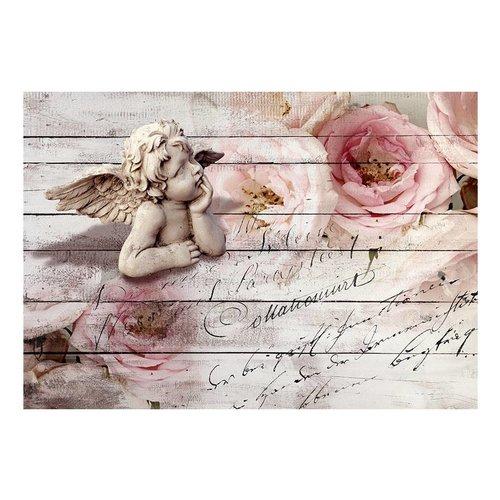 Fotobehang - Engel tussen rozen