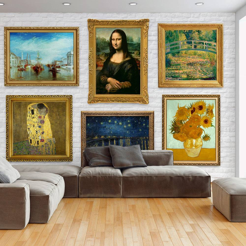 Fotobehang - Muur met oude meesters