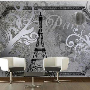 Fotobehang - Vintage Parijs - zilver