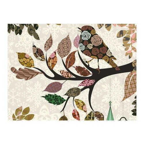 Fotobehang - Boomtak met vogel (patchwork)