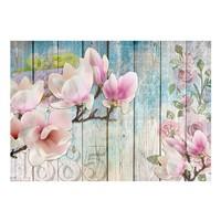 Fotobehang - Roze bloemen op hout