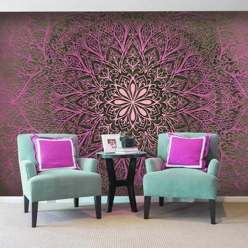 Fotobehang - Mandala van liefde , roze zwart
