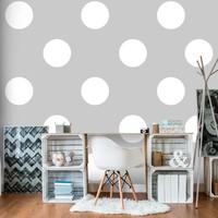 Fotobehang - Witte stippen op grijs