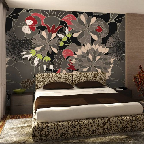 Fotobehang - floraal motief - grijs