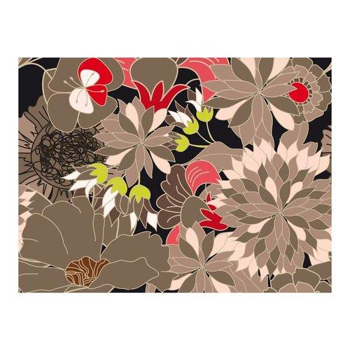 Fotobehang - Bloem motief - grijs, rood en groen