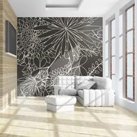 Fotobehang - Zwart-wit bloemen achtergrond