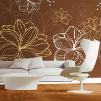 Fotobehang - Herfst flora, bruin