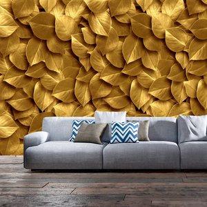 Fotobehang - Gouden bladeren