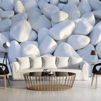 Fotobehang - White Pebbles