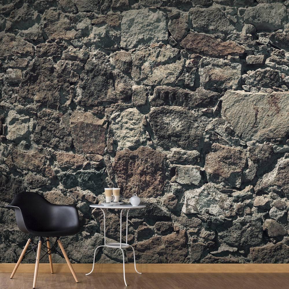 Fotobehang - Stenen gordijn , grijs