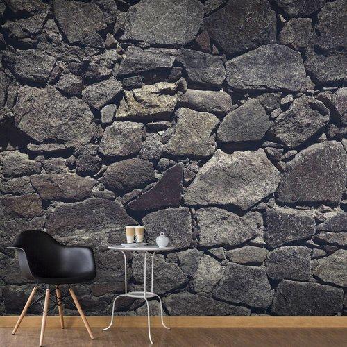 Fotobehang - Muur van  grijze grote keien , grijs