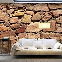 Fotobehang - Muur van grote keien , beige bruin