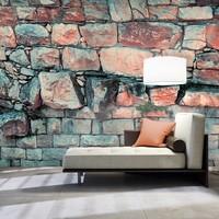 Fotobehang - Muur van blokken van steen , blauw roze , 5 maten
