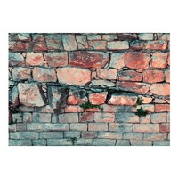 Fotobehang - Muur van blokken van steen , blauw roze