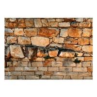 Fotobehang - Muur van oranje blokken van steen , beige oranje