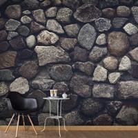 Fotobehang - Muur van donkere natuursteen , zwart grijs