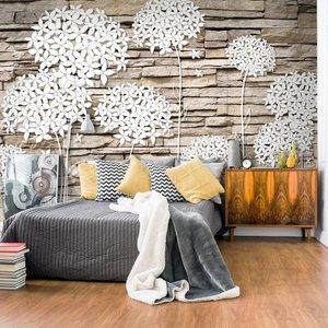 Fotobehang - Bloemen op de muur