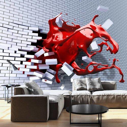 Fotobehang - Draak uit muur