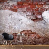 Fotobehang - Oude muur , wit rood , 5 maten