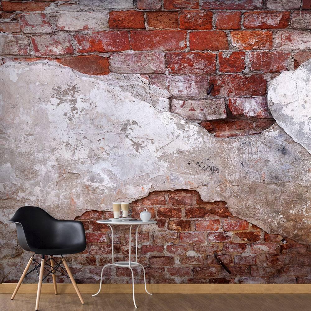 Fotobehang - Oude muur , wit rood