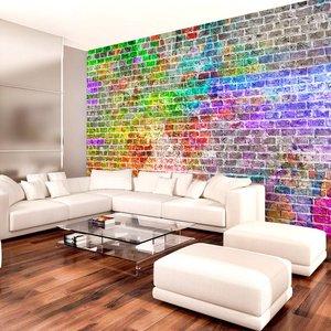 Fotobehang - Regenboog muur