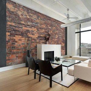 Fotobehang - Rode stenen muur