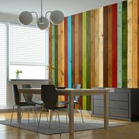 Fotobehang - Wooden rainbow