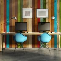 Fotobehang - Regenboog van hout