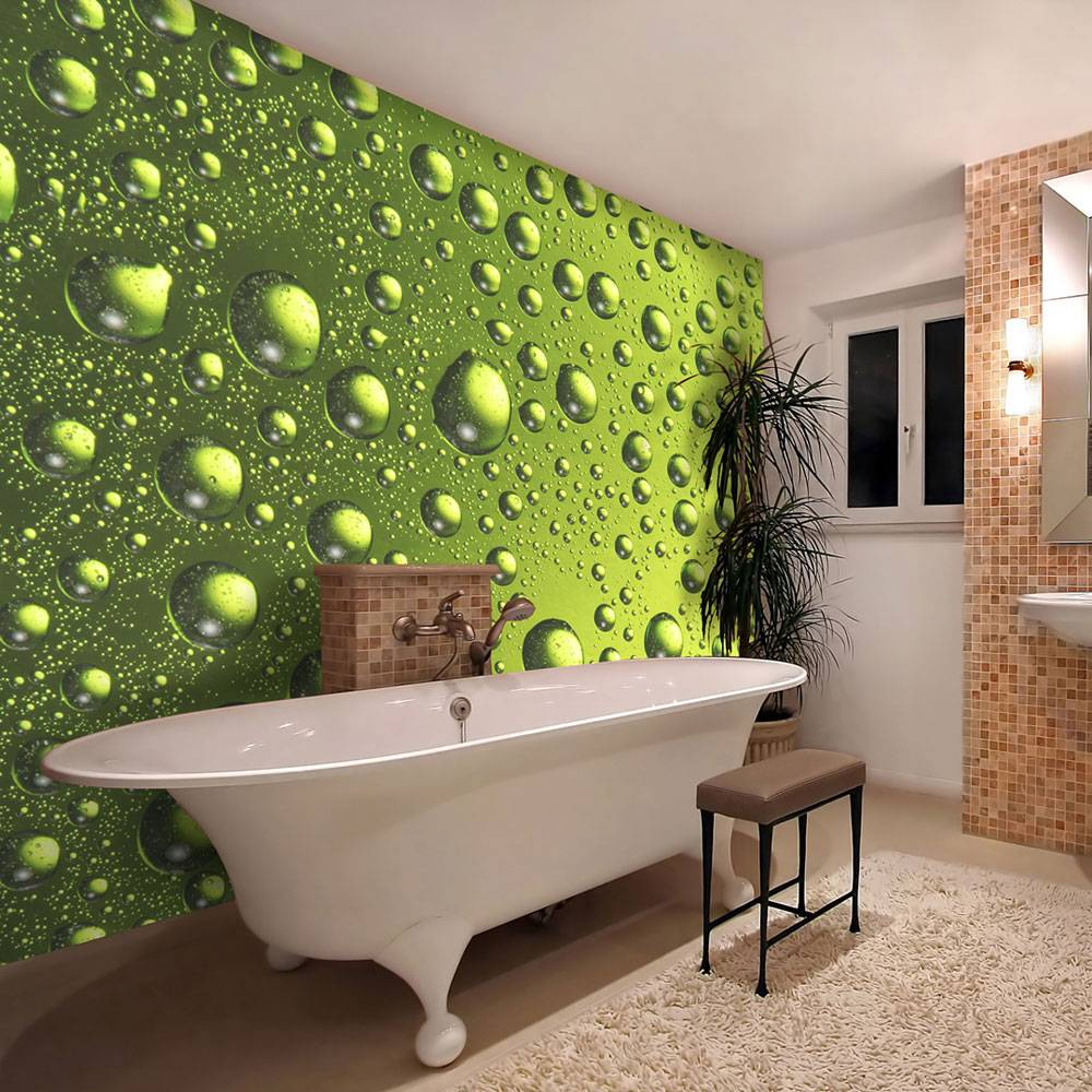 Fotobehang - Water druppels op groen glas