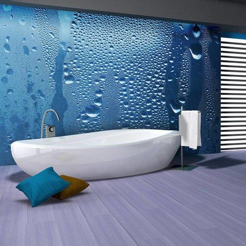 Fotobehang - Water druppels op blauw glas