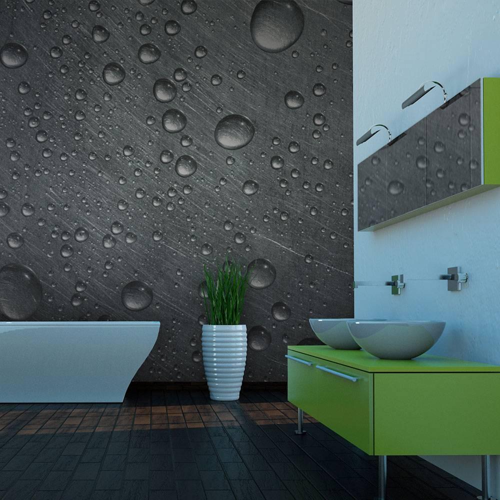 Fotobehang - Stalen oppervlak met water druppels