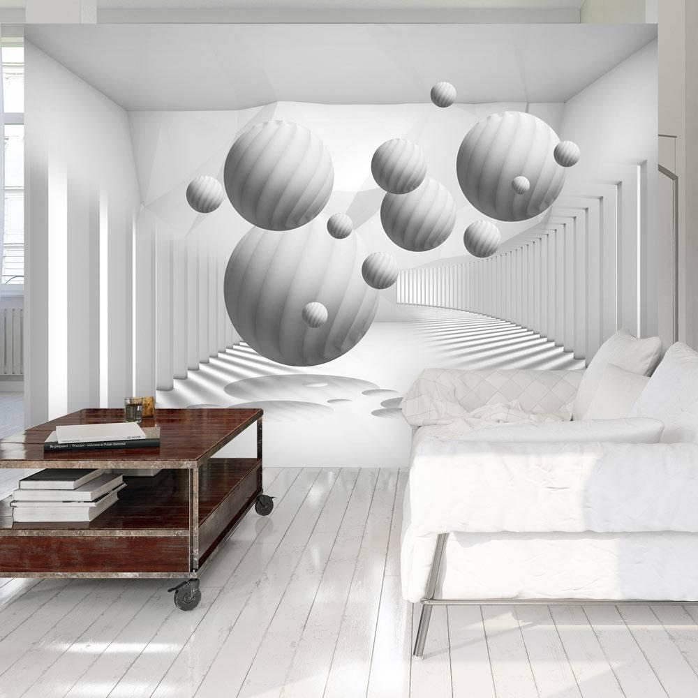Fotobehang -Zwevende witte ballen