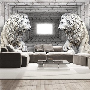 Fotobehang - Stenen leeuwen