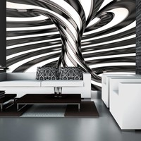 Fotobehang - Black and white swirl