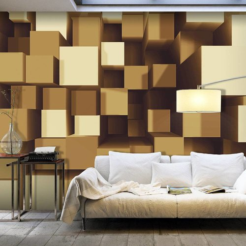 Fotobehang - geometrische harmonie , beige bruin
