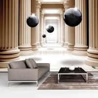 Fotobehang - Gang met zwarte ballen