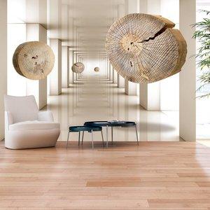Fotobehang - Flying Discs of Wood