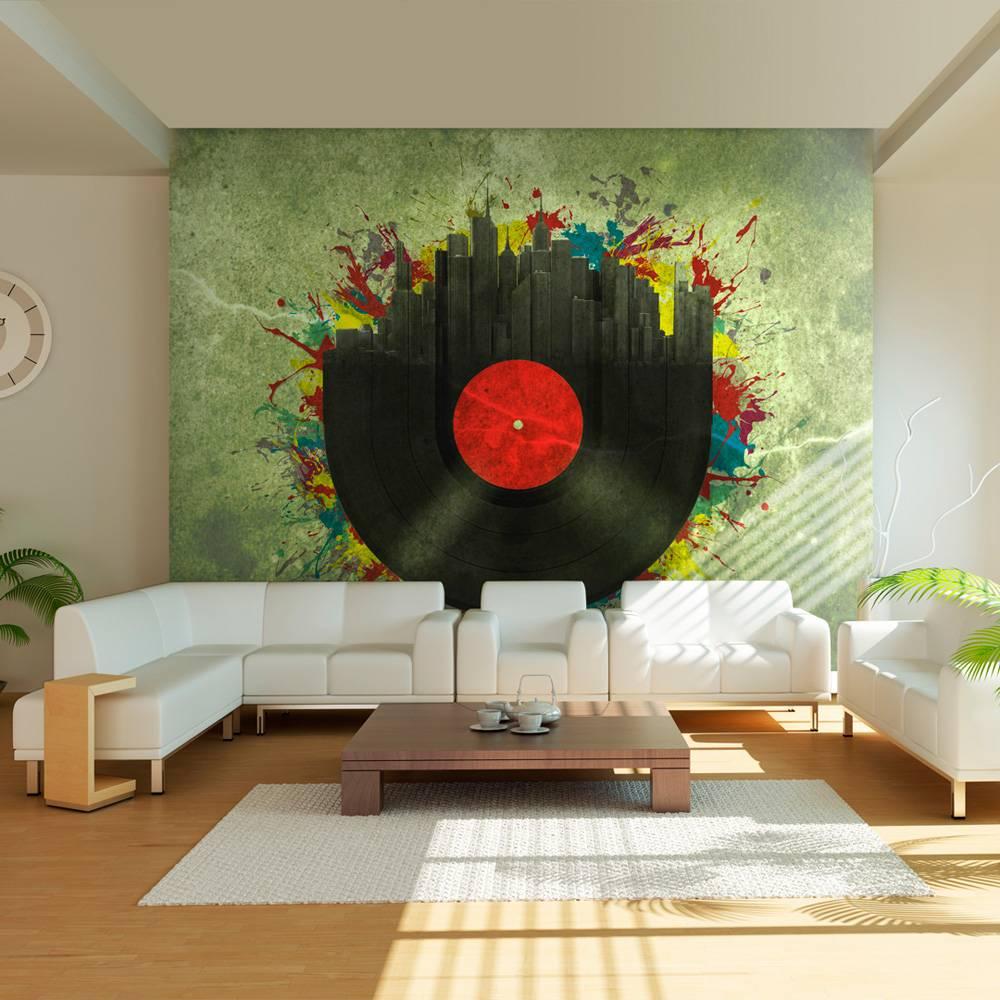 Fotobehang - Gekleurde melodieen van de stad, Vinyl