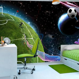 Fotobehang - Space match, voetbal