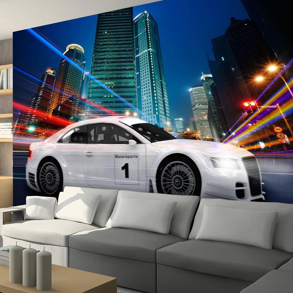 Fotobehang - Auto in de grote stad
