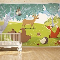 Fotobehang - Vliesbehang, Grappige dieren , kinderkamer