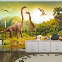 Fotobehang - Vliesbehang Dinosaurus , beige groen, kinderkamerFotobehang - Vliesbehang, Grappige dieren , kinderkamer, geen behangtafel nodig ,premium print