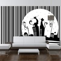 Fotobehang - Vliesbehang Melodie van poezen , zwart wit, kinderkamer, premium print