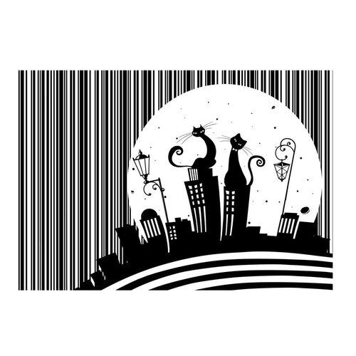 Fotobehang - Melodie van poezen , zwart wit, kinderkamer