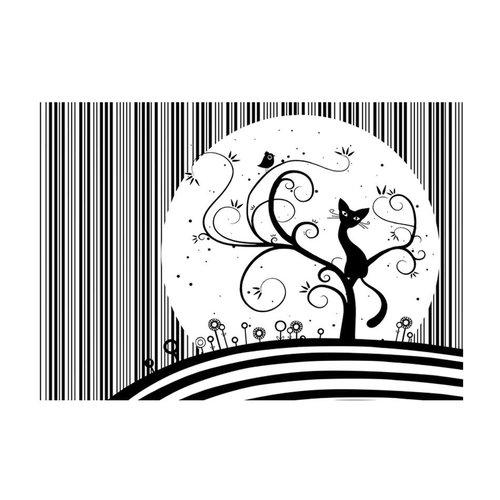 Fotobehang - Melodie van poezen III , zwart wit, kinderkamer