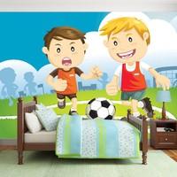 Fotobehang - Vliesbehang,  Het kampioenen team, voetbal , multikleur, kinderkamer
