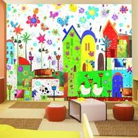 Fotobehang - Vliesbehang Vrolijke boerderij , multikleur, kinderkamer
