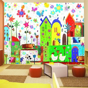 Fotobehang - Vrolijke boerderij , multikleur, kinderkamer