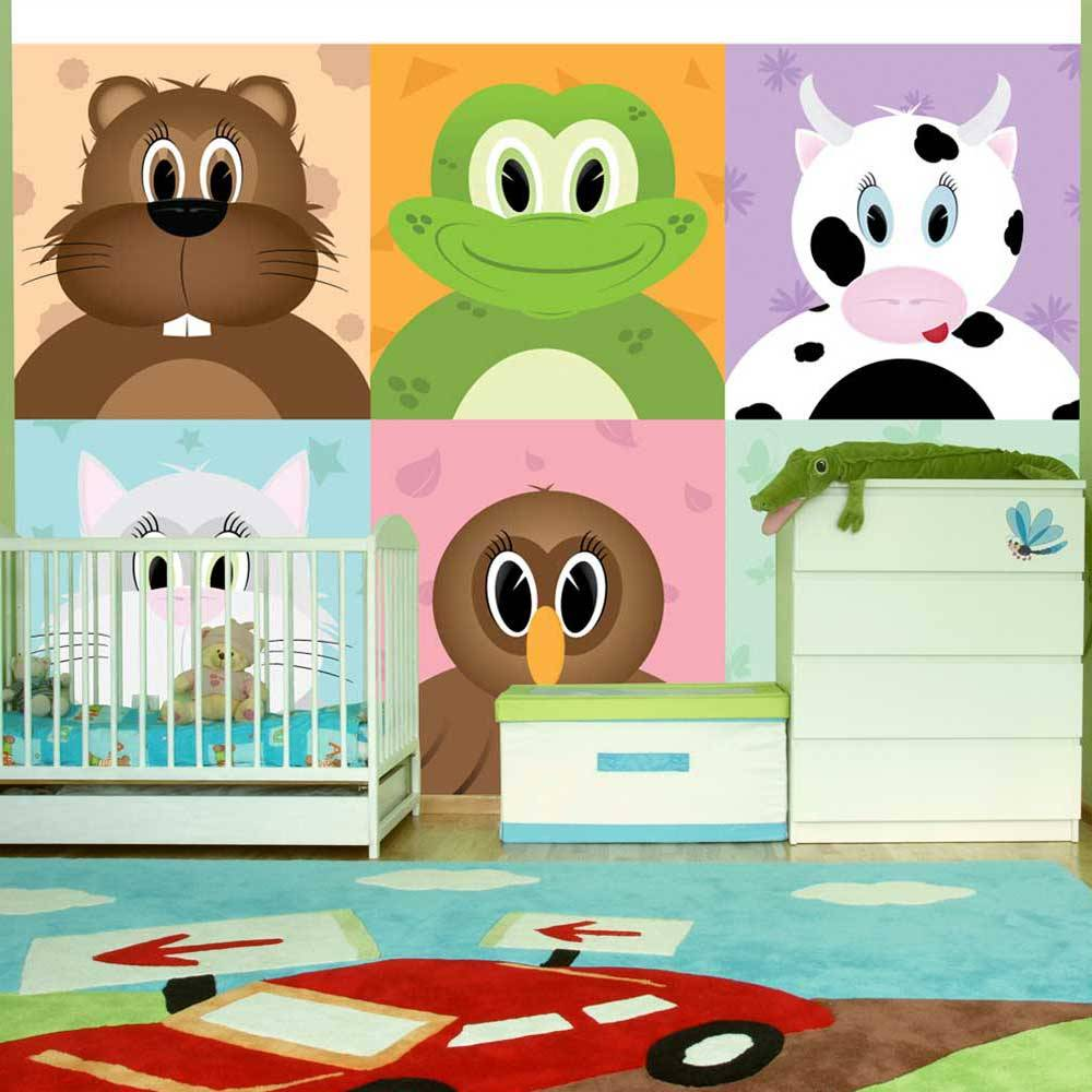 Fotobehang - Vrolijke dieren , multikleur, kinderkamer