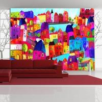 Fotobehang - Vliesbehang Kleurige stad , multikleur, kinderkamer